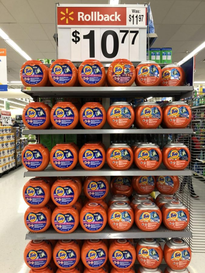 A display of the newer Tide Pod packages at Walmart in Presque Isle.