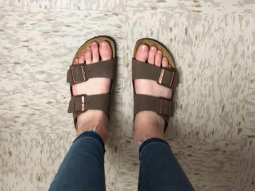 Clara Kohlbacher '20 rocks her look with Birkenstock sandals.