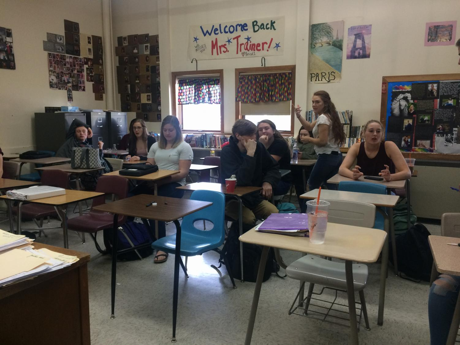 Seniors enjoy their last few moments of lunch socializing in Mrs. Trainer's room