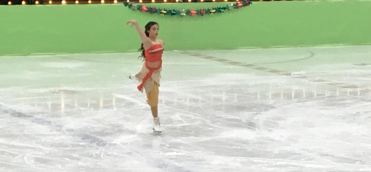 Alexis Michaud '20 skates as Moana, at The Forum for their 37th annual musical on ice.