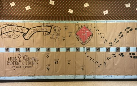 The senior class' drawing of the Marauder's Map on an expanse of lockers.