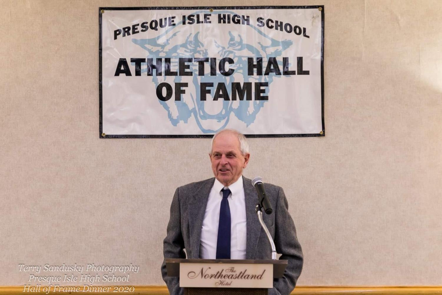 "Dave Maxcy gives a speech following his induction into the Presque Isle High School Athletic Hall of Fame on January 17, 2020 at the Northeastland Hotel in Presque Isle. ""I've known almost everybody that's gone in so it's great to join them,"" said Maxcy."