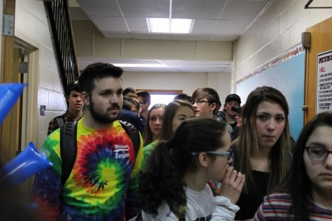 Students file into the gym for the February Pep Rally on February 14.  Crowded hallways are a distant memory, at the moment, while we socially distance ourselves to help prevent the spread of the coronavirus.