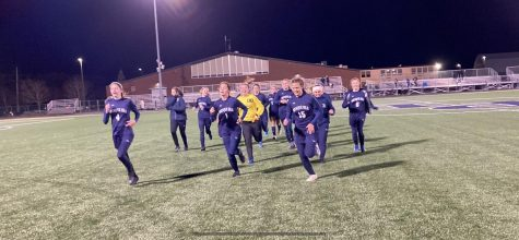 Presque Isle Wildcats running sideline to sideline after an exciting win.
