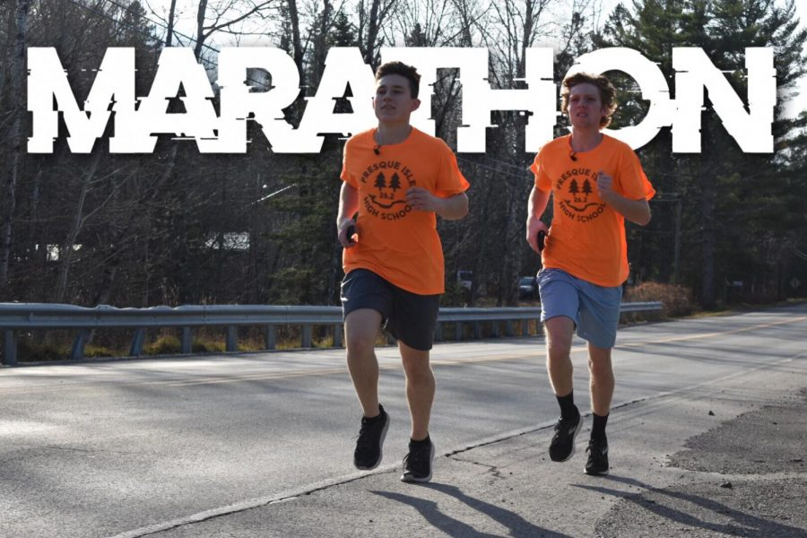 Cameron Levasseur and Jude Mosher during their November 7th marathon run.