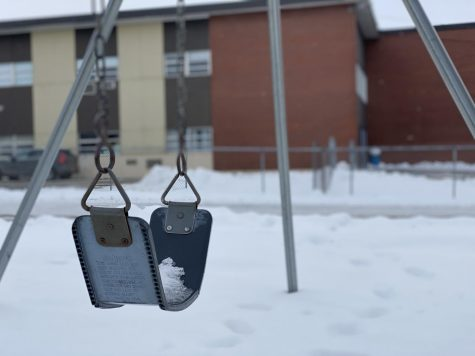School grounds are quiet on Friday, December 18, as students continue in remote learning.