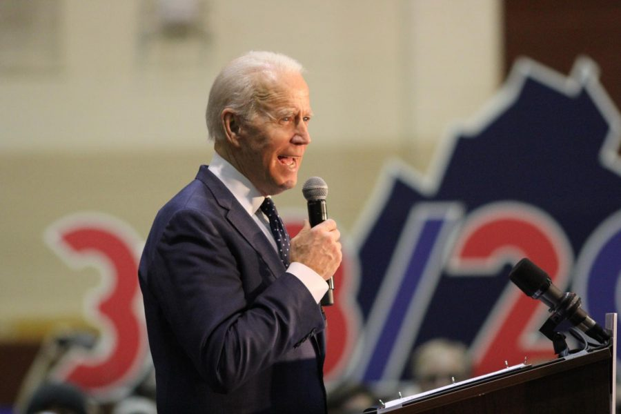 Then Democratic Presidential Candidate, Former Vice President Joe Biden speaks at a rally in Norfolk, Virginia at Booker T. Washington High School on March 1, 2020.