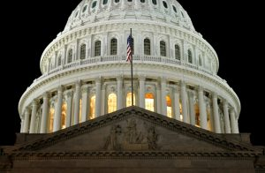 The United States Capitol building, home to the chambers of the House of Representatives and the Senate.