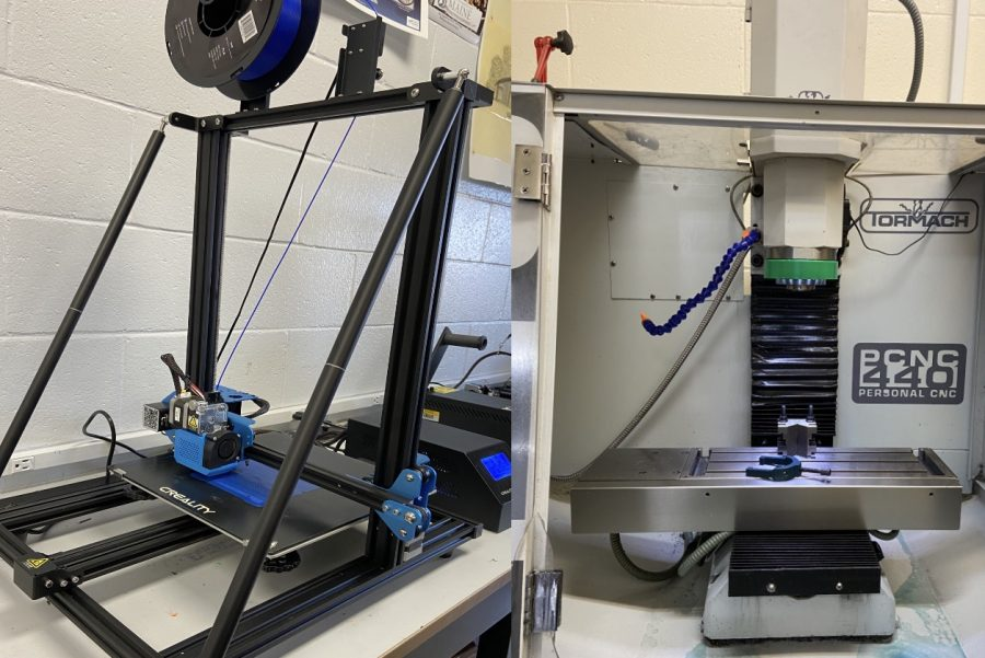 Left: 3D Printer  Right: CNC Milling Machine.