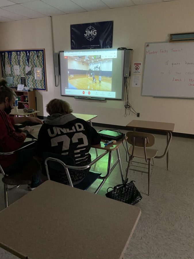 Students in period 3 watching their classmates play hungry hungry hippos