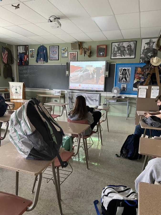 Students in period 2 watching their classmates do the Pit Stop Challenge