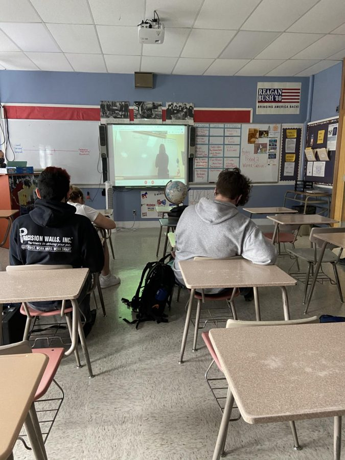 Students in period 2 watching their classmates play Pictionary