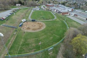 An aerial shot of Wednesday's contest between Presque Isle and Fort Kent